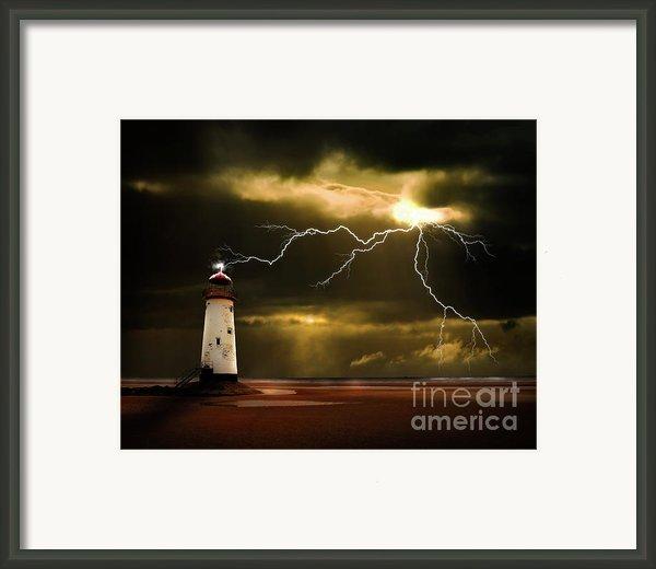 Lightning Storm Framed Print By Meirion Matthias