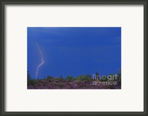 Lightning Strike In The Desert Framed Print By James Bo Insogna