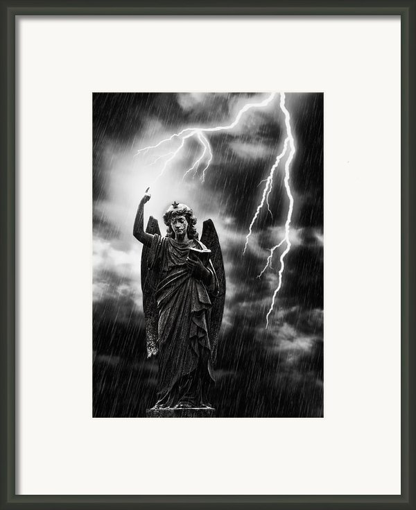 Lightning Strikes The Angel Gabriel Framed Print By Christopher And Amanda Elwell