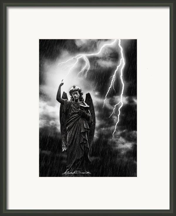Lightning Strikes The Angel Gabriel Framed Print By Amanda And Christopher Elwell