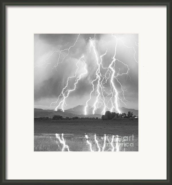 Lightning Striking Longs Peak Foothills 4cbw Framed Print By James Bo  Insogna