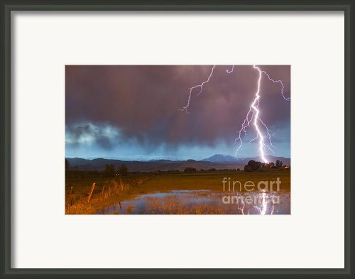 Lightning Striking Longs Peak Foothills 5 Framed Print By James Bo Insogna