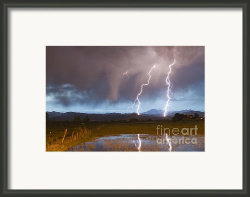 Lightning Striking Longs Peak Foothills Framed Print By James Bo Insogna
