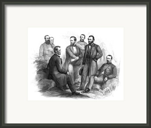 Lincoln And His Generals Black And White Framed Print By War Is Hell Store