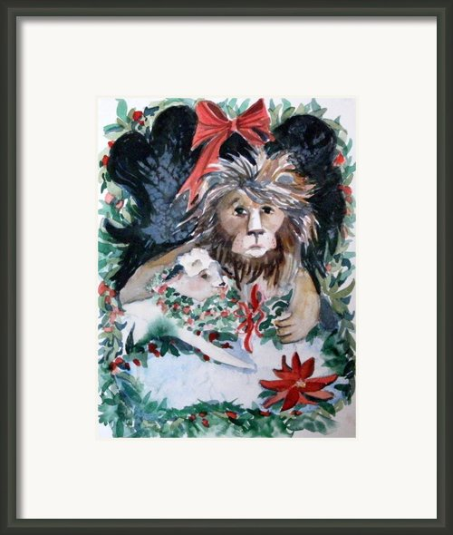 Lion And Lamb Framed Print By Mindy Newman