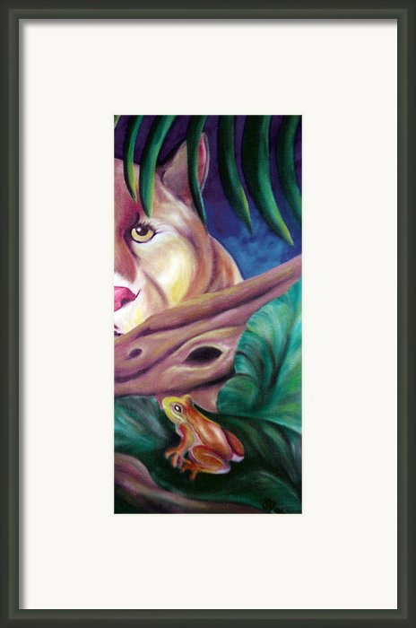 Lioness And Frog Framed Print By Juliana Dube
