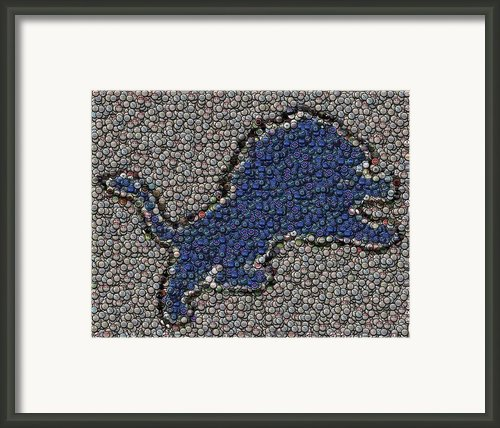 Lions Bottle Cap Mosaic Framed Print By Paul Van Scott