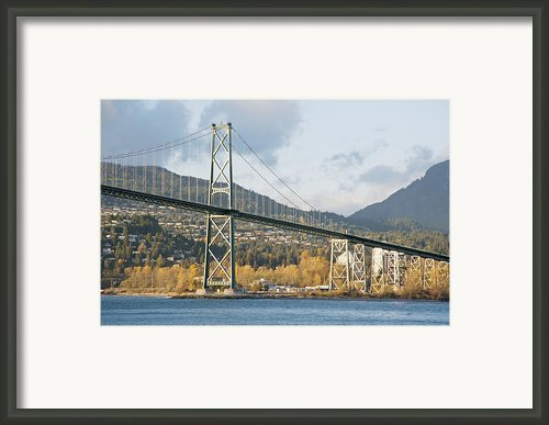 Lions Gate Bridge In Autumn Framed Print By Marlene Ford
