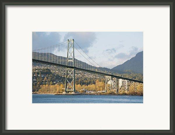 Lions Gate Bridge In Autumn Framed Print By Marlene Ford