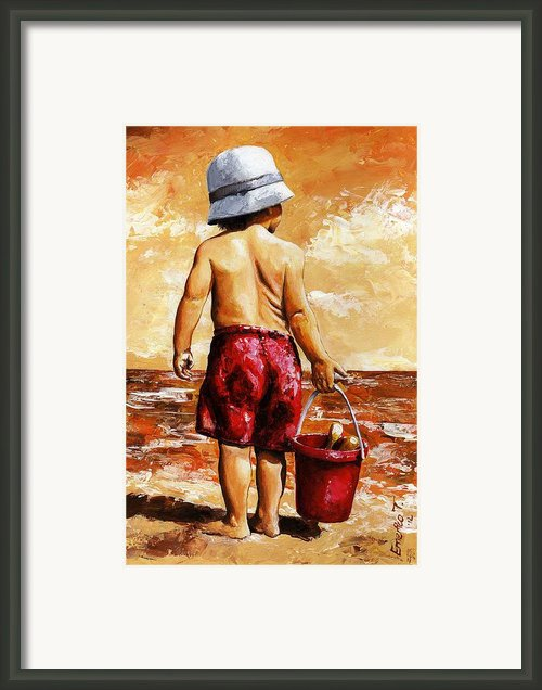 Little Boy On The Beach Ii Framed Print By Emerico Imre Toth