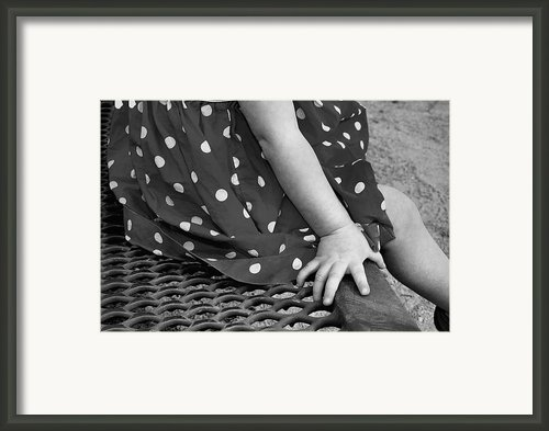 Little Girl Hand Polka Dot Dress Framed Print By Tracie Kaska