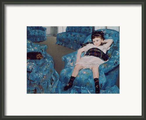 Little Girl In A Blue Armchair Framed Print By Mary Stevenson Cassatt