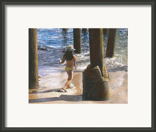 Little Jessica And Her Hat Malibu Pier  Framed Print By Randy Sprout