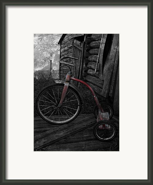 Little Red Grunge Framed Print By Larysa Luciw