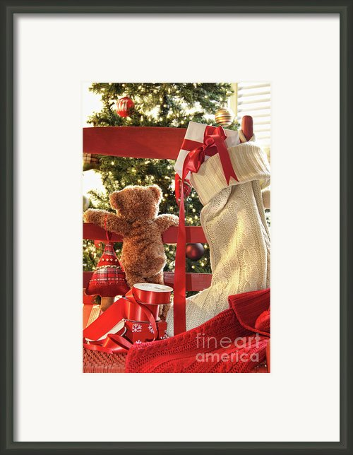 Little Teddy Bear Looking Through Chair Framed Print By Sandra Cunningham