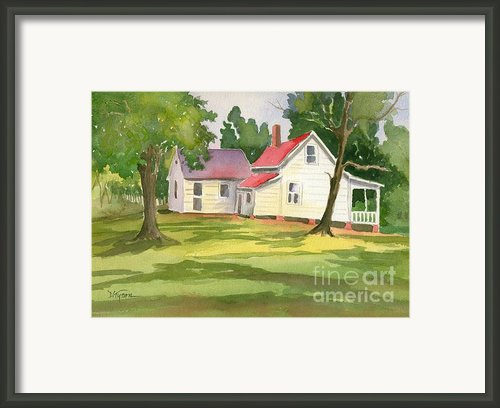 Little White Farmhouse Framed Print By Diana  Tyson
