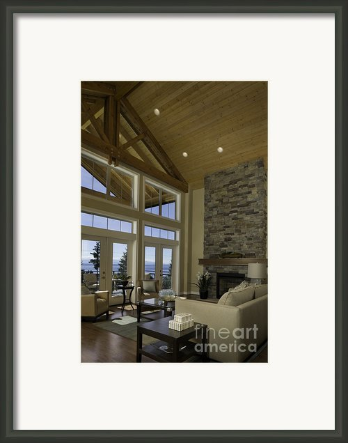 Living Room With Cathedral Ceiling Framed Print By Robert Pisano