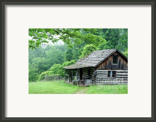 Log Cabin Fort New Salem Framed Print By Thomas R Fletcher
