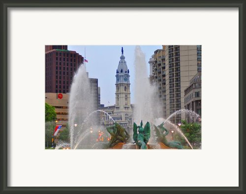Logan Circle Fountain With City Hall In Backround 4 Framed Print By Bill Cannon