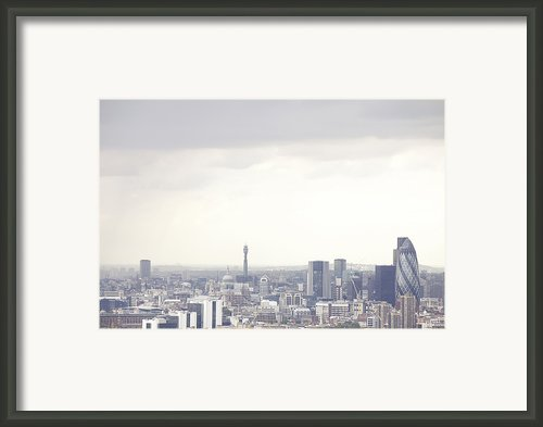 London Cityscape With The Guerkin Framed Print By Michael Blann