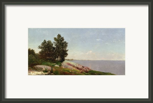 Long Island Sound At Darien Framed Print By John Frederick Kensett