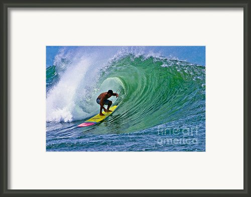 Longboarder In The Tube Framed Print By Paul Topp