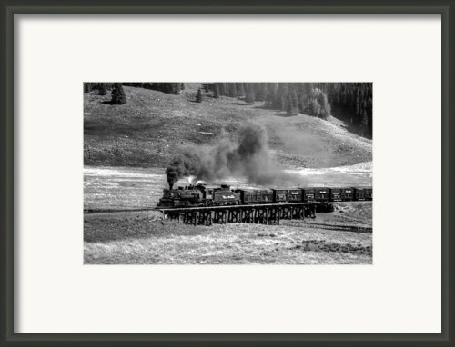 Los Pinos Cattle Train Black And White Framed Print By Ken Smith