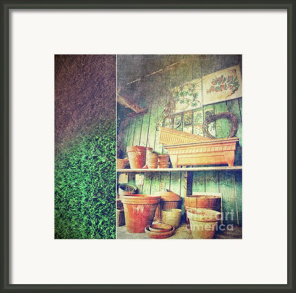 Lots Of Different Size Pots In The Shed Framed Print By Sandra Cunningham