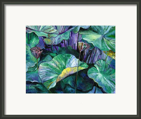 Lotus Pond Framed Print By Carol Mangano