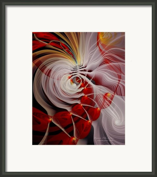 Love Is Like A Fire Framed Print By Gayle Odsather