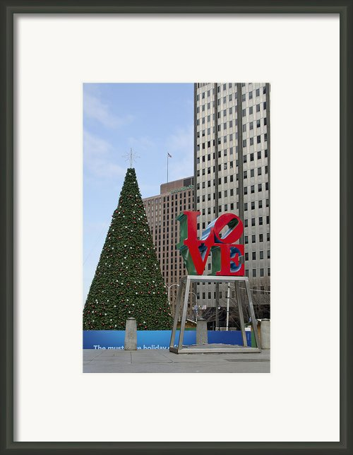 Love Park Philadelphia - Winter Framed Print By Brendan Reals