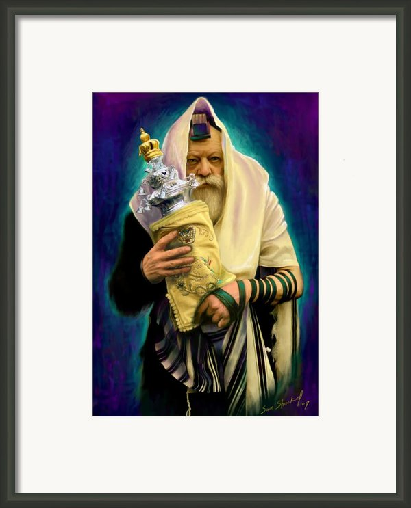 Lubavitcher Rebbe With Torah Framed Print By Sam Shacked