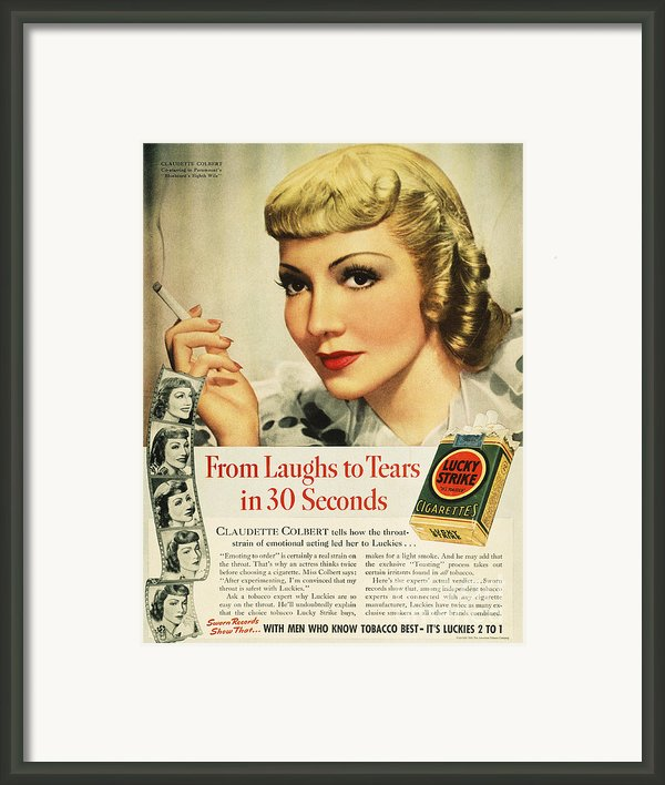 Luckys Cigarette Ad, 1938 Framed Print By Granger