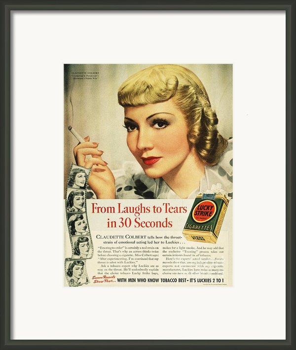 Luckys Cigarette Ad, 1938 Framed Print By Granger