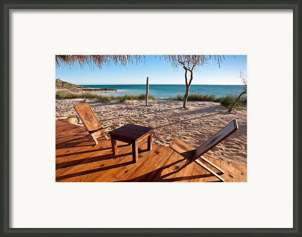 Luxurious Terrace On The Beach Framed Print By Pierre-yves Babelon