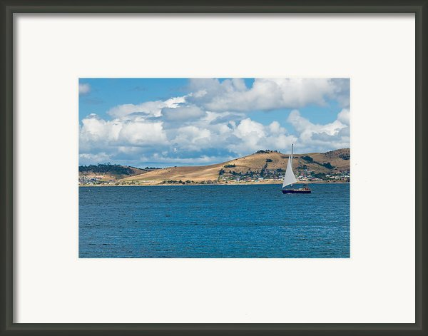 Luxury Yacht Sails In Blue Waters Along A Summer Coast Line Framed Print By Ulrich Schade