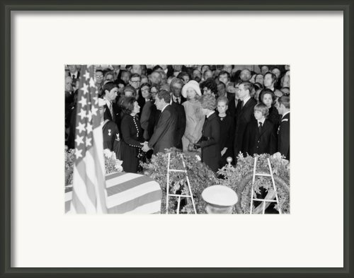 Lyndon Johnson Funeral. President Nixon Framed Print By Everett