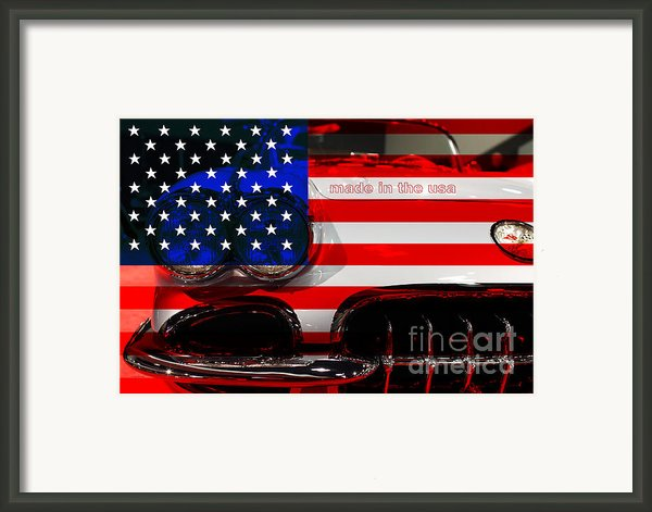 Made In The Usa . Chevy Corvette Framed Print By Wingsdomain Art And Photography