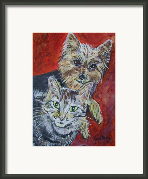 Maggie Mae And Buddy Framed Print By Paintings By Gretzky