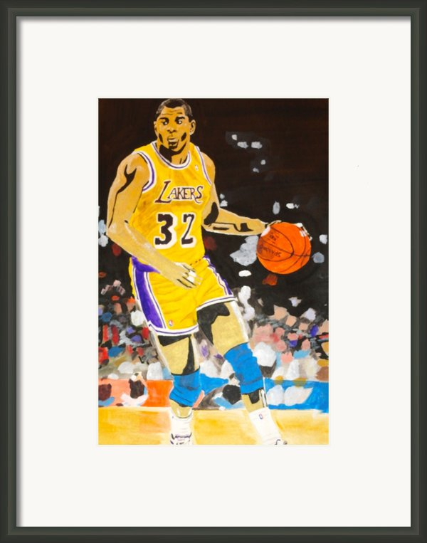 Magic Johnson Framed Print By Estelle Breton-maya