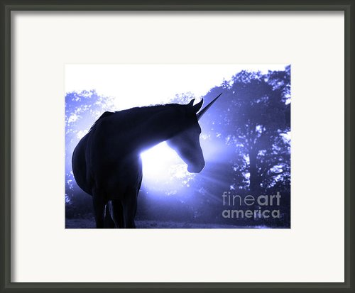 Magic Unicorn In Blue Framed Print By Sari Oneal