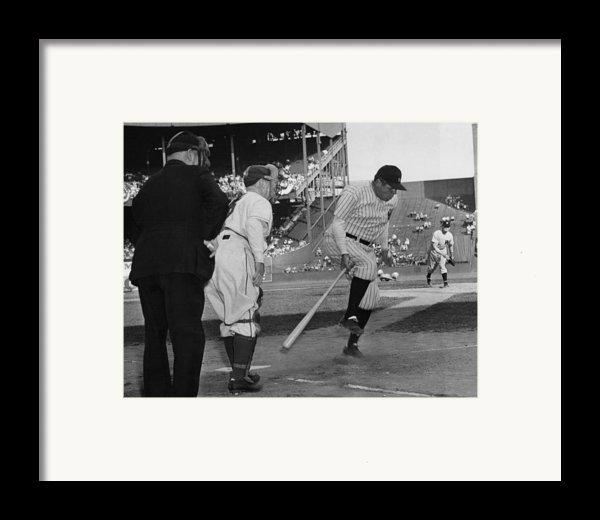 Major League Baseball. From Left Former Framed Print By Everett