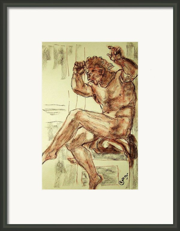 Male Nude Figure Drawing Sketch With Power Dynamics Struggle Angst Fear And Trepidation In Charcoal Framed Print By Mendyz M Zimmerman