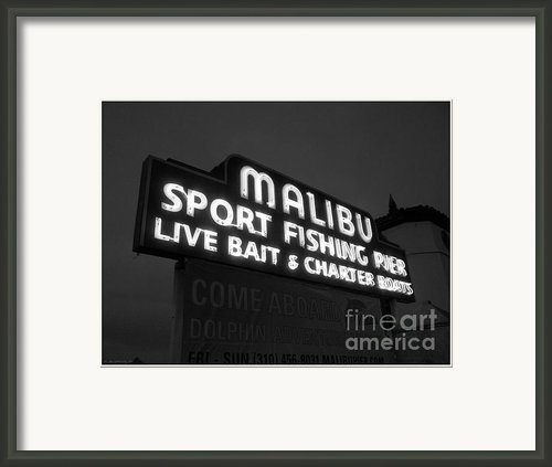 Malibu Pier Sign In Bw Framed Print By Glenn Mccarthy Art And Photography