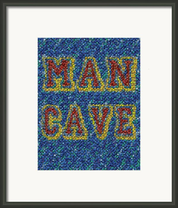 Man Cave Bottle Cap Mosaic Framed Print By Paul Van Scott
