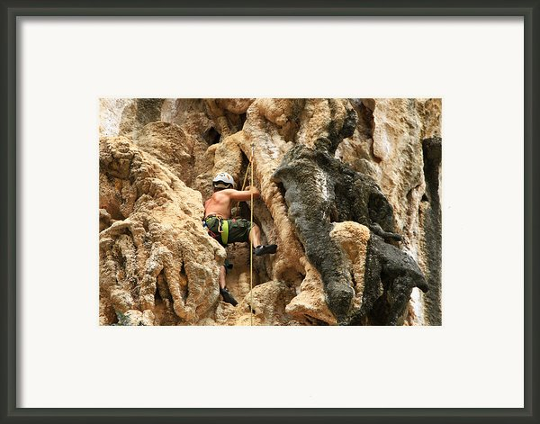 Man Climbing Rock Framed Print By Ulrike Maier