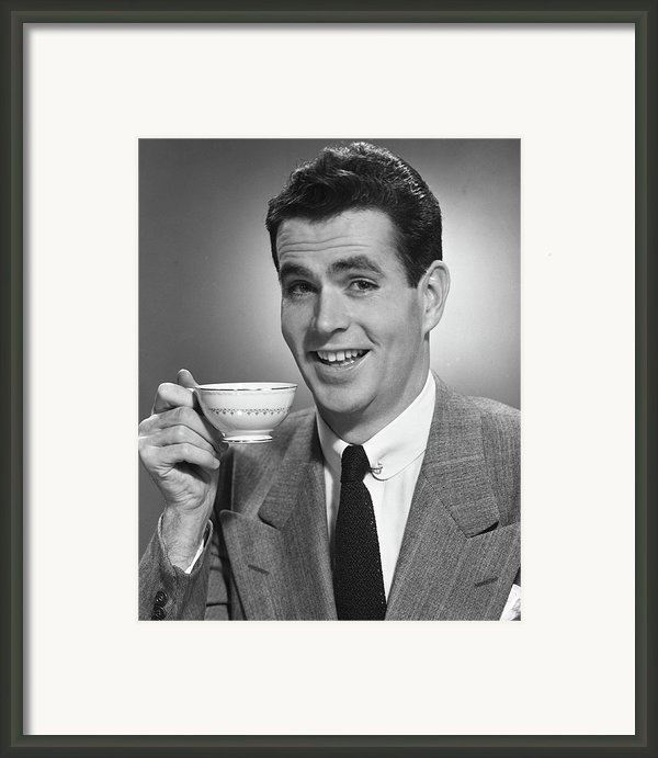 Man Drinking Coffee Framed Print By George Marks