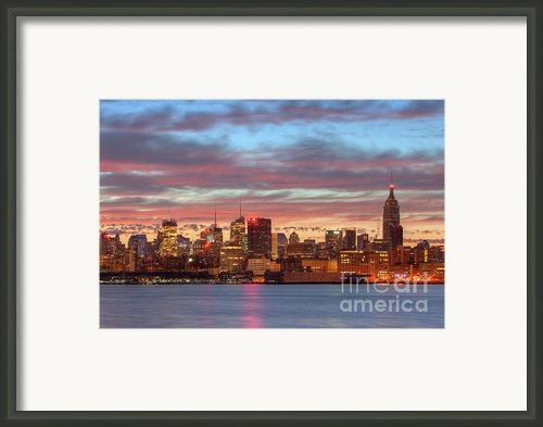 Manhattan Dawn Skyline I Framed Print By Clarence Holmes