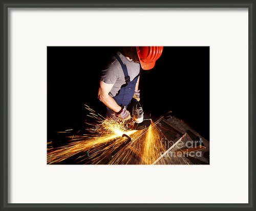 Manual Worker With Grinder Framed Print By Gualtiero Boffi