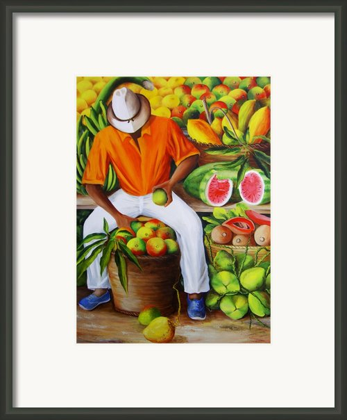 Manuel The Caribbean Fruit Vendor  Framed Print By Dominica Alcantara